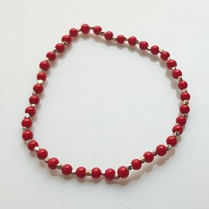 Red point silver ball bracelets (산호실버팔찌)